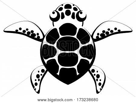 Small turtle stencil black, vector illustration, vertical, isolated
