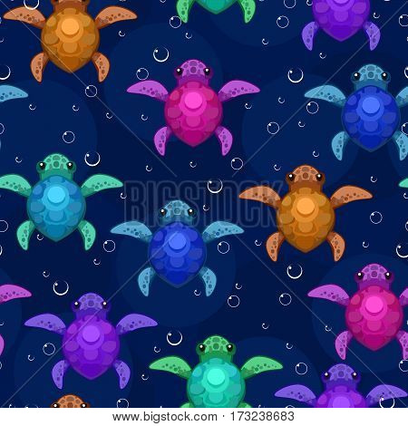 Swimming small turtles, seamless tile vector texture pattern