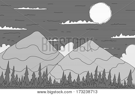 Landscape simple gray cartoon line drawing, horizontal, vector illustration