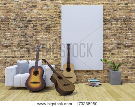 3D Guitar On White Sofa In The Living Room