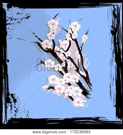 black background with blue abstract and colored fantasy bouquet of flowers cherry
