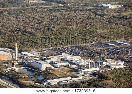 CAPE CANAVERAL ORLANDO FL - FEBRUARY 17 2017: Aerial view of the whole complex of NASA. Kennedy Space Center Museum