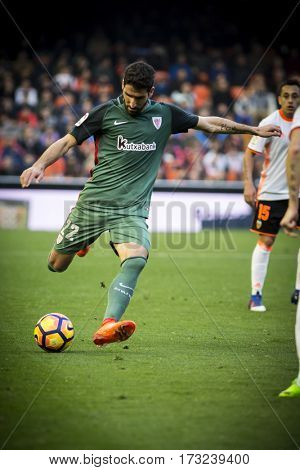 VALENCIA, SPAIN - FEBRUARY 19: Raul Garcia with ball during La Liga soccer match between Valencia CF and CD Athletic Club Bilbao at Mestalla Stadium on February 19, 2017 in Valencia, Spain