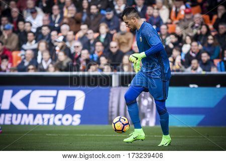 VALENCIA, SPAIN - FEBRUARY 19: Diego Alves during La Liga soccer match between Valencia CF and CD Athletic Club Bilbao at Mestalla Stadium on February 19, 2017 in Valencia, Spain