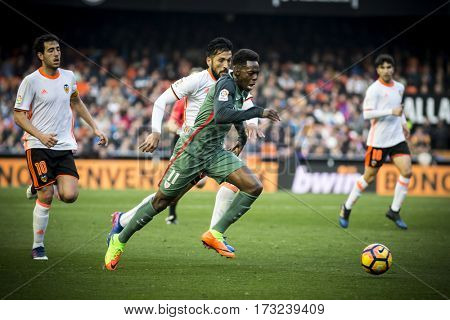 VALENCIA, SPAIN - FEBRUARY 19: Williams with ball during La Liga soccer match between Valencia CF and CD Athletic Club Bilbao at Mestalla Stadium on February 19, 2017 in Valencia, Spain