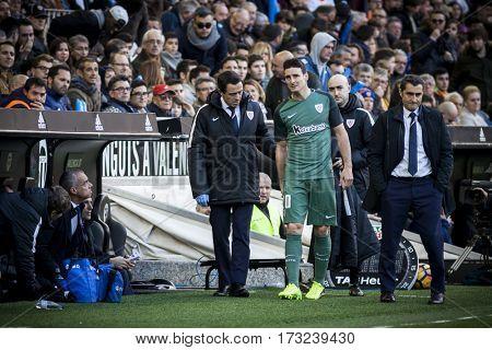 VALENCIA, SPAIN - FEBRUARY 19: (C) Aduriz injured during La Liga soccer match between Valencia CF and CD Athletic Club Bilbao at Mestalla Stadium on February 19, 2017 in Valencia, Spain