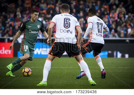 VALENCIA, SPAIN - FEBRUARY 19: Oscar de Marcos with ball during La Liga soccer match between Valencia CF and CD Athletic Club Bilbao at Mestalla Stadium on February 19, 2017 in Valencia, Spain