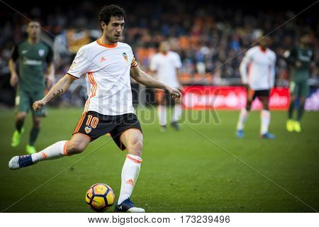 VALENCIA, SPAIN - FEBRUARY 19: Daniel Parejo during La Liga soccer match between Valencia CF and CD Athletic Club Bilbao at Mestalla Stadium on February 19, 2017 in Valencia, Spain