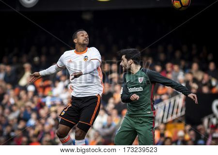 VALENCIA, SPAIN - FEBRUARY 19: (L) Nani and Boveda during La Liga soccer match between Valencia CF and CD Athletic Club Bilbao at Mestalla Stadium on February 19, 2017 in Valencia, Spain