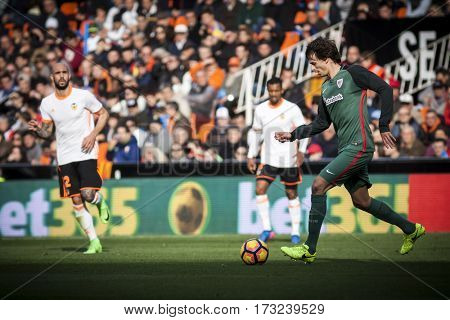 VALENCIA, SPAIN - FEBRUARY 19: Ander Iturraspe during La Liga soccer match between Valencia CF and CD Athletic Club Bilbao at Mestalla Stadium on February 19, 2017 in Valencia, Spain