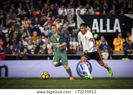 VALENCIA, SPAIN - FEBRUARY 19: Enzo Perez with ball during La Liga soccer match between Valencia CF and CD Athletic Club Bilbao at Mestalla Stadium on February 19, 2017 in Valencia, Spain
