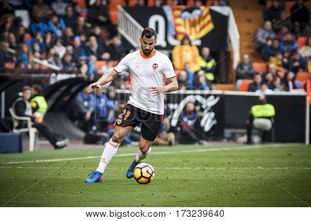 VALENCIA, SPAIN - FEBRUARY 19: Martin Montoya during La Liga soccer match between Valencia CF and CD Athletic Club Bilbao at Mestalla Stadium on February 19, 2017 in Valencia, Spain