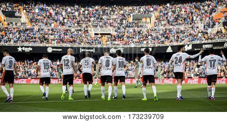 VALENCIA, SPAIN - FEBRUARY 19: Valencia players during La Liga soccer match between Valencia CF and CD Athletic Club Bilbao at Mestalla Stadium on February 19, 2017 in Valencia, Spain