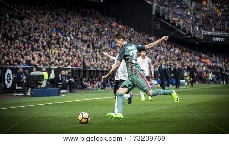VALENCIA, SPAIN - FEBRUARY 19: Enric Saborit during La Liga soccer match between Valencia CF and CD Athletic Club Bilbao at Mestalla Stadium on February 19, 2017 in Valencia, Spain