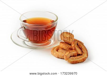 cup of tea with biscuit isolated on white