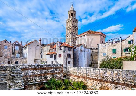 Idyllic view at ancient cathedral in town Split, popular touristic and historical landmark in Croatia.