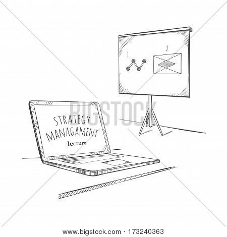 Sketch education business concept with laptop and flipchart for presentation on white background isolated vector illustration