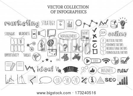 Infographic marketing strategy icons set of business elements PEST and SWOT analyses in sketch style isolated vector illustration