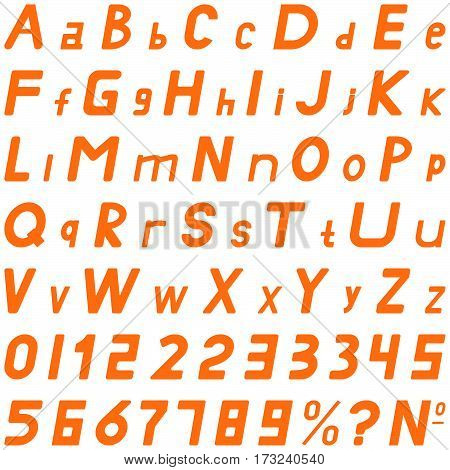 Orange fonts middle sloping style hand work for commerce use and other.