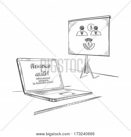 Sketch educational equipment concept with laptop and flipchart for business finance presentation on white background isolated vector illustration