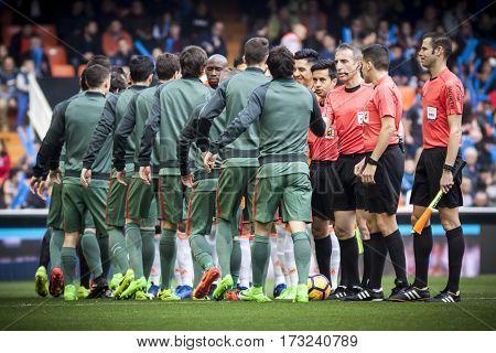 VALENCIA, SPAIN - FEBRUARY 19: Players during La Liga soccer match between Valencia CF and CD Athletic Club Bilbao at Mestalla Stadium on February 19, 2017 in Valencia, Spain