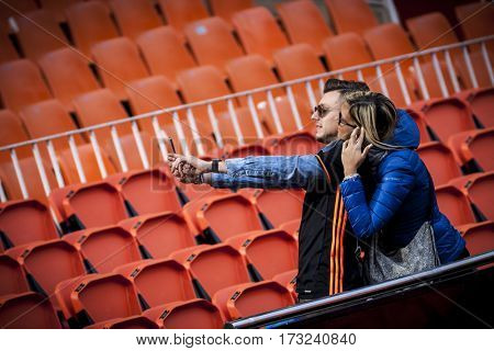 VALENCIA, SPAIN - FEBRUARY 19: Valencia supporters during La Liga soccer match between Valencia CF and CD Athletic Club Bilbao at Mestalla Stadium on February 19, 2017 in Valencia, Spain