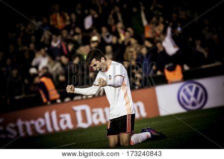 VALENCIA, SPAIN - FEBRUARY 22: Gaya celebrates the victory during La Liga soccer match between Valencia CF and Real Madrid at Mestalla Stadium on February 22, 2017 in Valencia, Spain