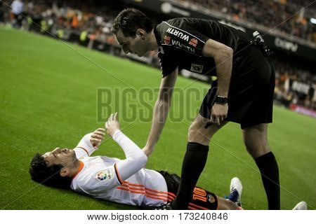 VALENCIA, SPAIN - FEBRUARY 22: (L) Daniel Parejo during La Liga soccer match between Valencia CF and Real Madrid at Mestalla Stadium on February 22, 2017 in Valencia, Spain