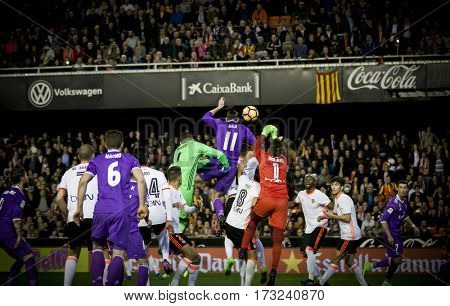 VALENCIA, SPAIN - FEBRUARY 22: Players during La Liga soccer match between Valencia CF and Real Madrid at Mestalla Stadium on February 22, 2017 in Valencia, Spain
