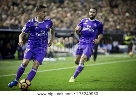 VALENCIA, SPAIN - FEBRUARY 22: (L) Lucas Vazquez during La Liga soccer match between Valencia CF and Real Madrid at Mestalla Stadium on February 22, 2017 in Valencia, Spain