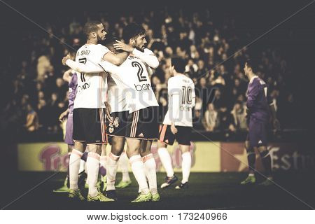 VALENCIA, SPAIN - FEBRUARY 22: Valencia players celebrate the victory during La Liga soccer match between Valencia CF and Real Madrid at Mestalla Stadium on February 22, 2017 in Valencia, Spain