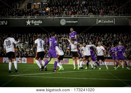 VALENCIA, SPAIN - FEBRUARY 22: Various players during La Liga soccer match between Valencia CF and Real Madrid at Mestalla Stadium on February 22, 2017 in Valencia, Spain