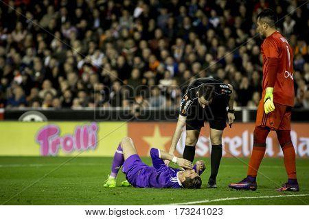 VALENCIA, SPAIN - FEBRUARY 22: Cristiano Ronaldo injured during La Liga soccer match between Valencia CF and Real Madrid at Mestalla Stadium on February 22, 2017 in Valencia, Spain