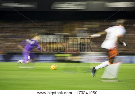 VALENCIA, SPAIN - FEBRUARY 22: Luka Modric with ball during La Liga soccer match between Valencia CF and Real Madrid at Mestalla Stadium on February 22, 2017 in Valencia, Spain