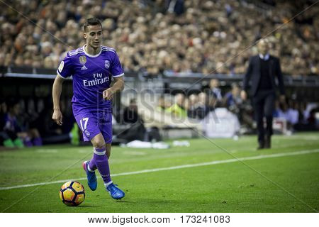 VALENCIA, SPAIN - FEBRUARY 22: Lucas Vazquez during La Liga soccer match between Valencia CF and Real Madrid at Mestalla Stadium on February 22, 2017 in Valencia, Spain