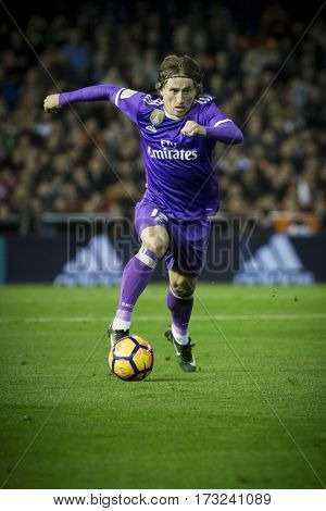 VALENCIA, SPAIN - FEBRUARY 22: Luka Modric during La Liga soccer match between Valencia CF and Real Madrid at Mestalla Stadium on February 22, 2017 in Valencia, Spain