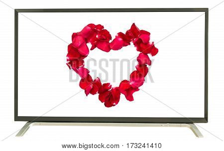 heart is symbol of love on television white background
