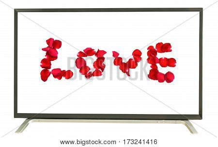 the word love on television white background
