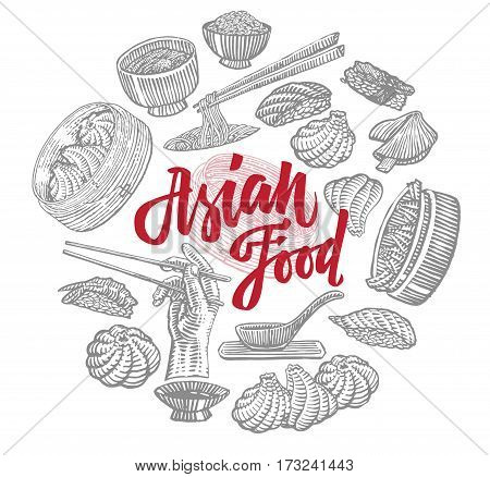 Sketch Asian food elements round composition with traditional meals of chinese and japanese cuisines isolated vector illustration