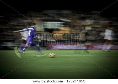 VALENCIA, SPAIN - FEBRUARY 22: Ramos with ball during La Liga soccer match between Valencia CF and Real Madrid at Mestalla Stadium on February 22, 2017 in Valencia, Spain