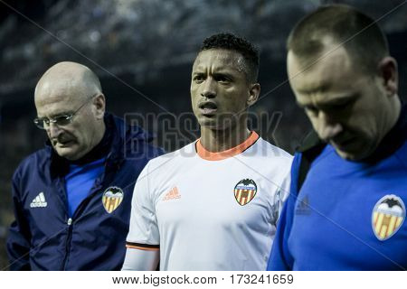 VALENCIA, SPAIN - FEBRUARY 22: (C) Nani injured during La Liga soccer match between Valencia CF and Real Madrid at Mestalla Stadium on February 22, 2017 in Valencia, Spain