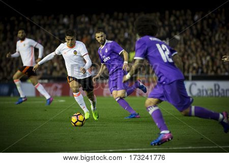 VALENCIA, SPAIN - FEBRUARY 22: Cancelo with ball during La Liga soccer match between Valencia CF and Real Madrid at Mestalla Stadium on February 22, 2017 in Valencia, Spain
