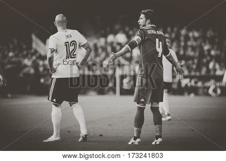 VALENCIA, SPAIN - FEBRUARY 22: (L) Zaza and Ramos during La Liga soccer match between Valencia CF and Real Madrid at Mestalla Stadium on February 22, 2017 in Valencia, Spain