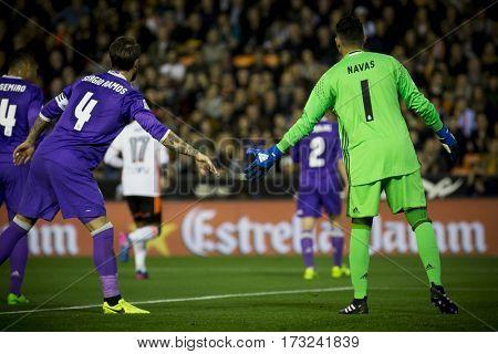 VALENCIA, SPAIN - FEBRUARY 22: (L) Ramos and Navas during La Liga soccer match between Valencia CF and Real Madrid at Mestalla Stadium on February 22, 2017 in Valencia, Spain