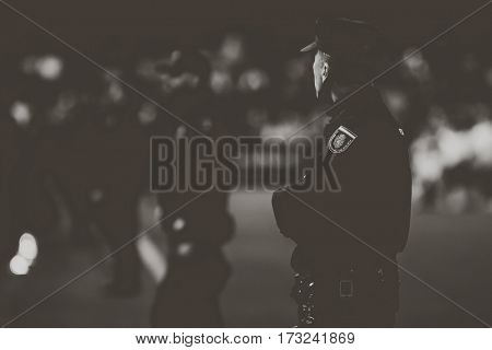 VALENCIA, SPAIN - FEBRUARY 22: Police during La Liga soccer match between Valencia CF and Real Madrid at Mestalla Stadium on February 22, 2017 in Valencia, Spain