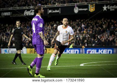 VALENCIA, SPAIN - FEBRUARY 22: (R) Simone Zaza during La Liga soccer match between Valencia CF and Real Madrid at Mestalla Stadium on February 22, 2017 in Valencia, Spain