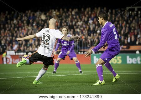 VALENCIA, SPAIN - FEBRUARY 22: (L) Simone Zaza during La Liga soccer match between Valencia CF and Real Madrid at Mestalla Stadium on February 22, 2017 in Valencia, Spain