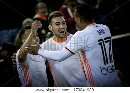 VALENCIA, SPAIN - FEBRUARY 22: Valencia players celebrate a goal during La Liga soccer match between Valencia CF and Real Madrid at Mestalla Stadium on February 22, 2017 in Valencia, Spain