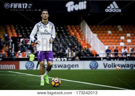 VALENCIA, SPAIN - FEBRUARY 22: Cristiano Ronaldo during La Liga soccer match between Valencia CF and Real Madrid at Mestalla Stadium on February 22, 2017 in Valencia, Spain