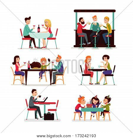 Eating people set of couple friends family children and businessman sitting in restaurant cafe or bar isolated vector illustration
